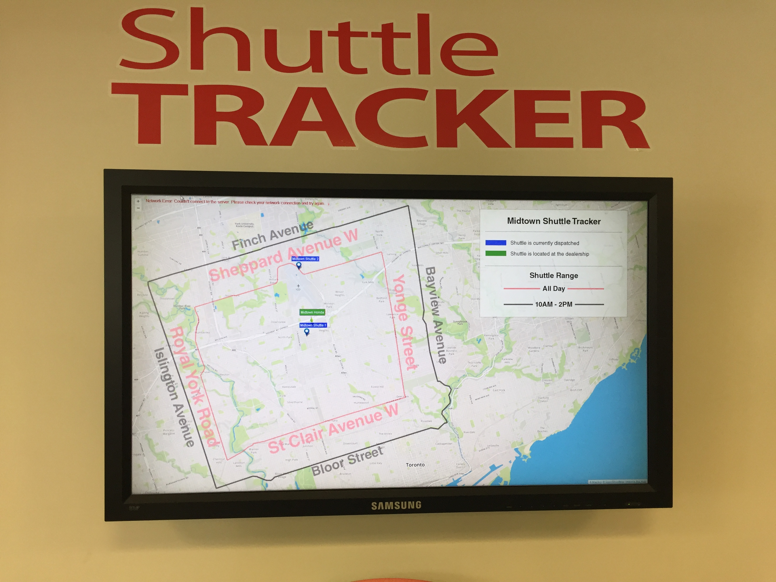 Shuttle Tracker - display for customer viewing