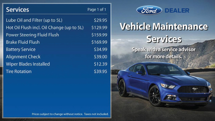 Ford Digital Signage - Menuboard