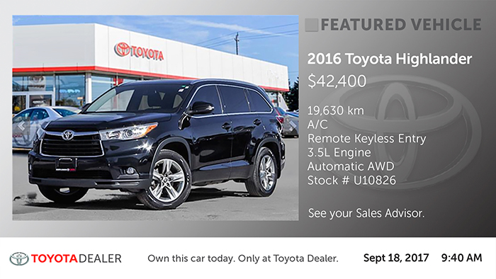 Toyota-Featured Vehicle Digital Signage