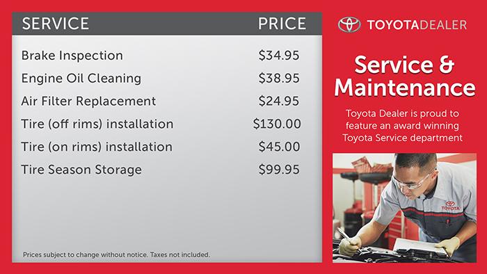 Toyota-Service Menuboard Digital Signage