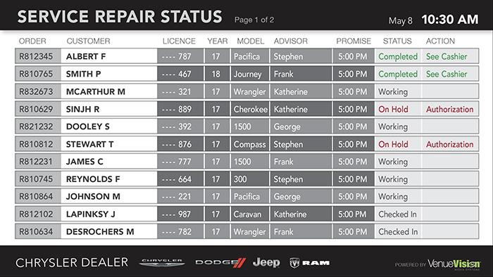 Chrysler-Repair Status