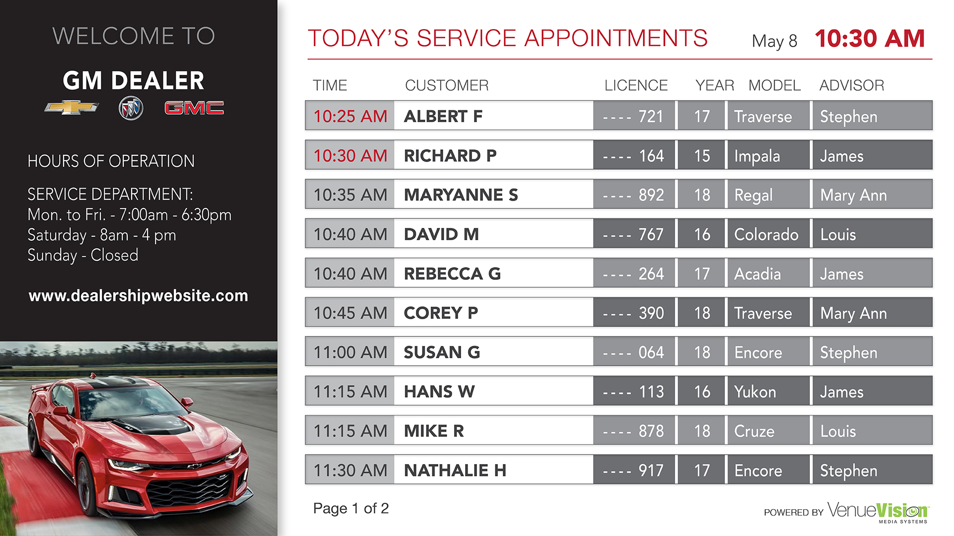 Service Appointment Dashboard sample, Digital Signage from VenueVision.