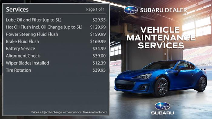 Subaru-Service Menuboard