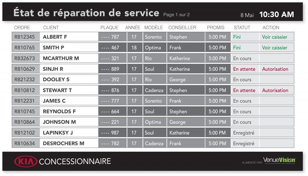 Kia Repair Status - FR