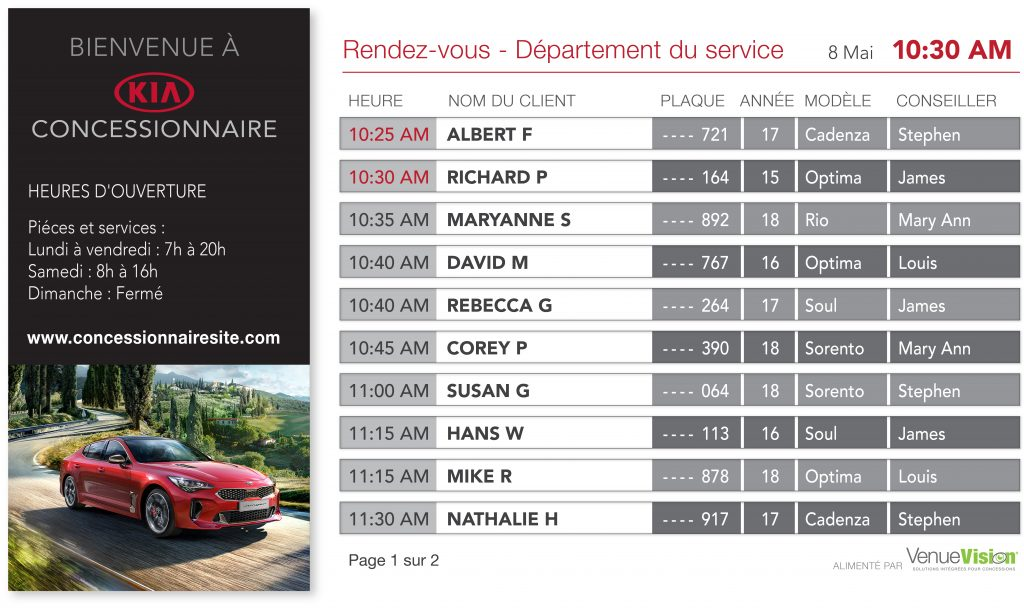 Kia Service Appointments - FR