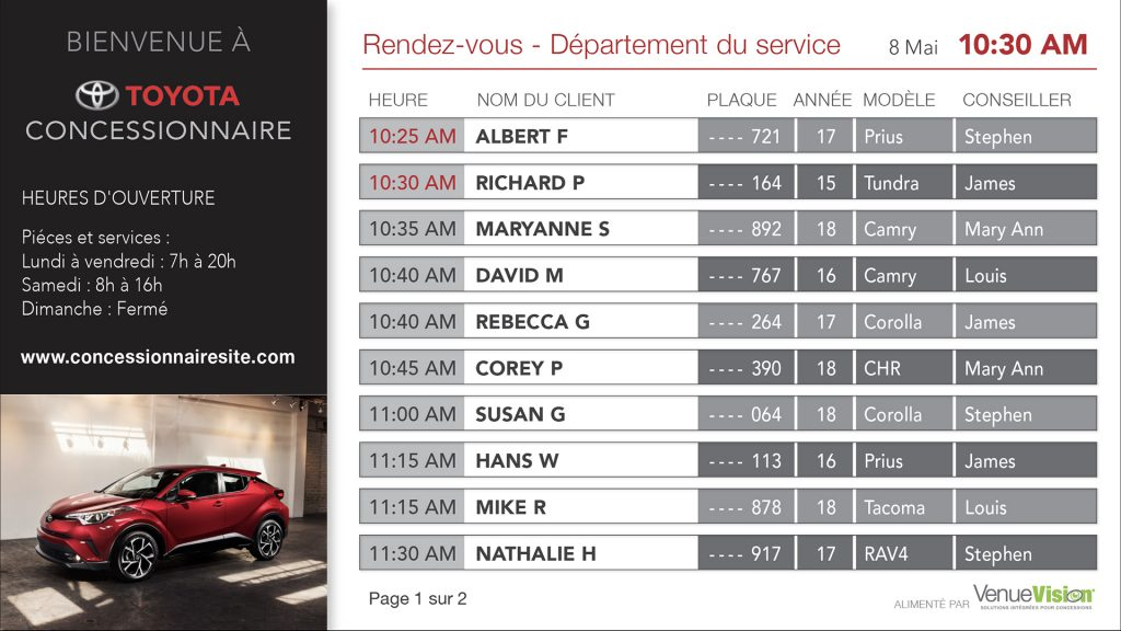 Toyota Service Appointments - FR